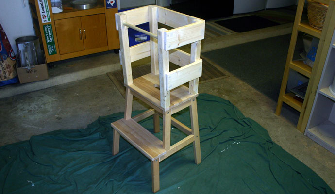 IKEA Hack Learning Tower after sanding