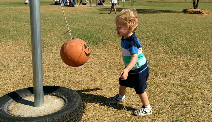 That Poore Baby plays tetherball at Barton Hill Farms